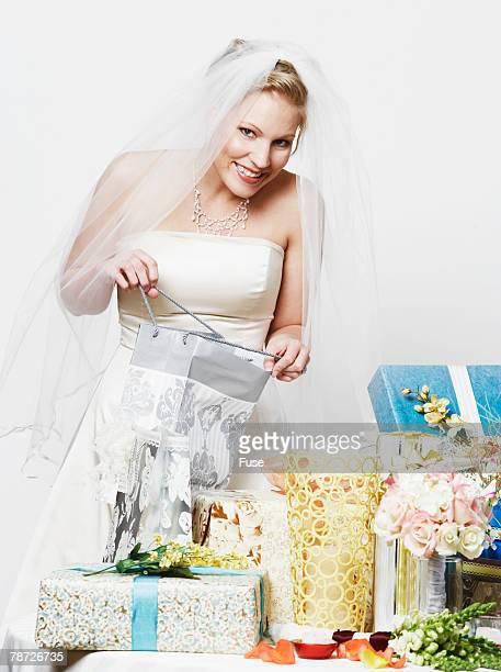 Bride Peeking in Presents