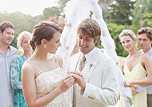 Bride putting ring on grooms finger