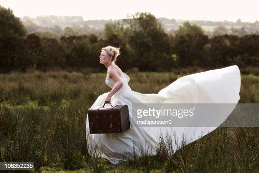 Bride running away