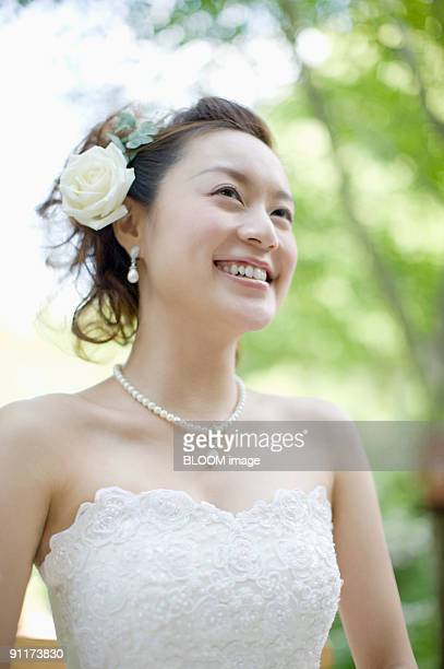 Bride smiling, portrait, close-up