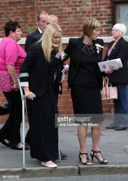 Bride to be Stefanie Firth leaves the funeral of Beth Jones who died in a crash on the M62 as she headed to a hen party at Joseph's church in South...