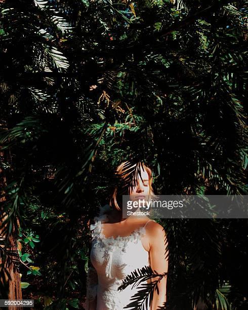 Bride wearing wedding dress under tree branches