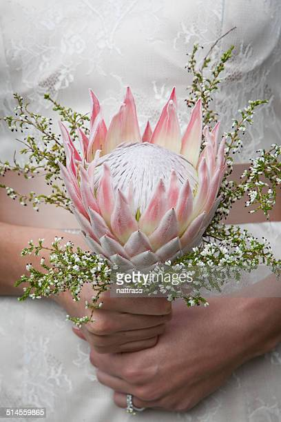 Bride with a pink protea bouquet