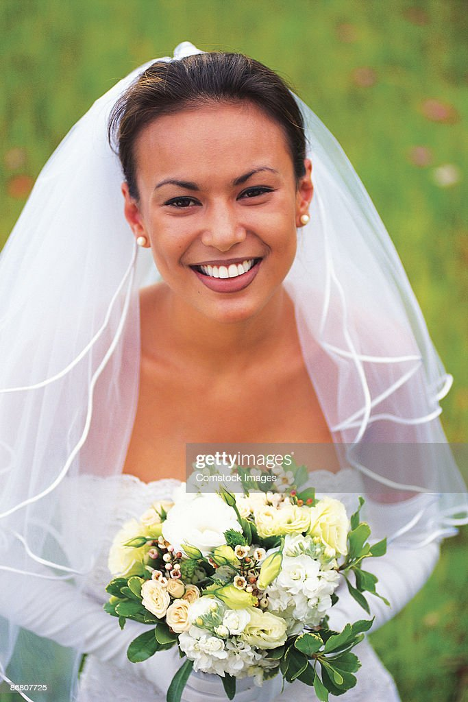 Bride with bouquet : Stock Photo