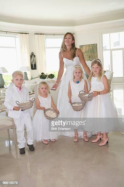 Bride with children portrait