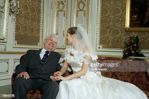 Bride with Father, smiling