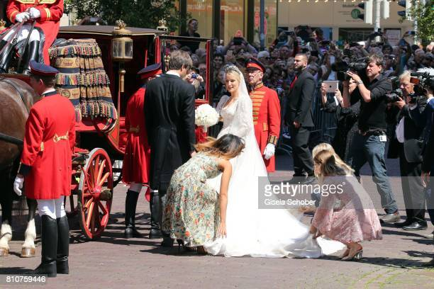 Bridegroom Crown prince Ernst August of Hanover jr and his wife Ekaterina Malysheva Princess Alexandra of Hanover during the wedding of Prince Ernst...