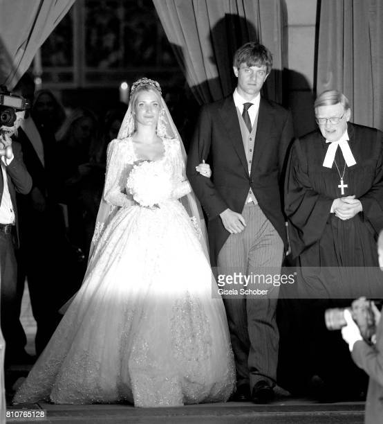 Bridegroom Crown prince Ernst August of Hanover jr and his wife Ekaterina Malysheva leave their wedding of Prince Ernst August of Hanover Duke of...