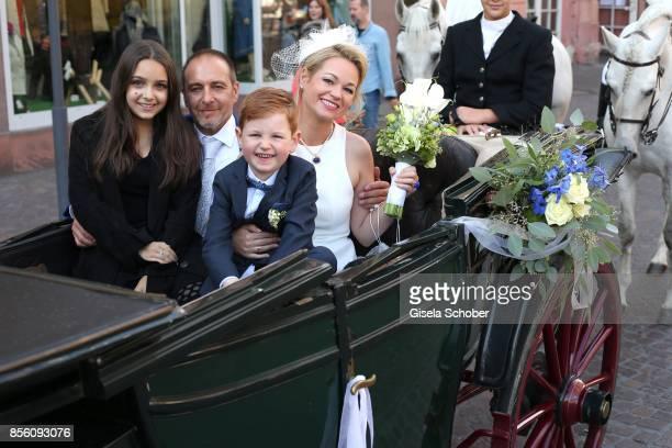Bridegroom Erdogan Atalay and his fiance bride Katja Ohneck with Amira 'Pauletta' Pollmann daughter of Erdogan Atalay and Maris Atalay son of Erdogan...