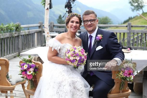 Bridegroom Torsten Koch and his bride Annika Hofmann during the wedding of Torsten Koch and Annika Hofmann at Wiesergut Alm on July 22 2017 in...