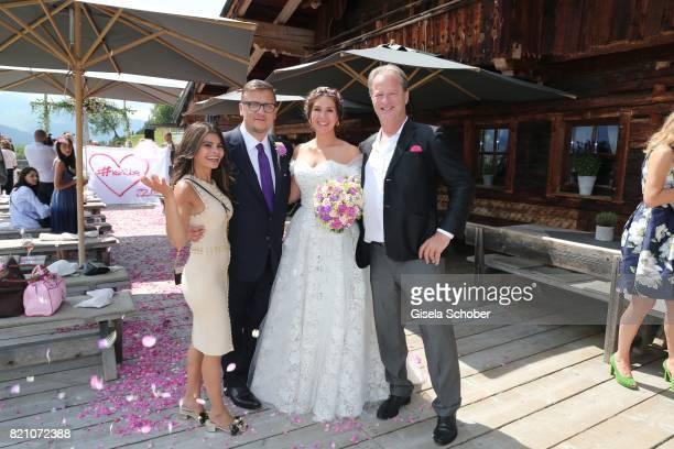 Bridegroom Torsten Koch and his wife Annika Koch with Nadja da Silva and Tom Gerhardt during the wedding of Torsten Koch and Annika Hofmann at...