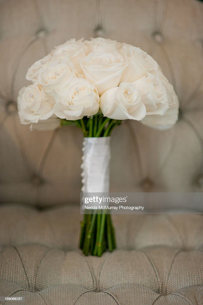 Brides bouquet of white roses : Stock Photo