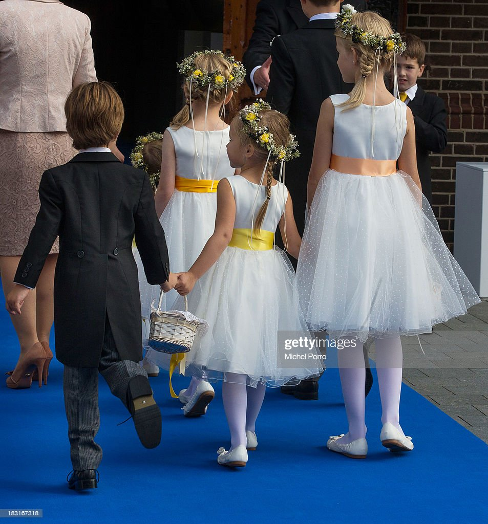 brides children attend the wedding of Prince Jaime de Bourbon Parme and Viktoria Cservenyak at The Church Of Our Lady At Ascension on October 5, 2013 in Apeldoorn, Netherlands.