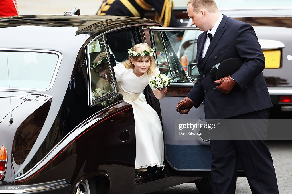 Bridesmaid Lady Louise Windsor arrives to attend the Royal Wedding of Prince William to Catherine Middleton at Westminster Abbey on April 29 2011 in...