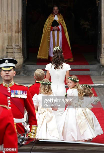 Bridesmaid Margarita ArmstrongJones looks on as Maid of Honour Pippa Middleton leads the pageboys and bridemaids to attend the Royal Wedding of...