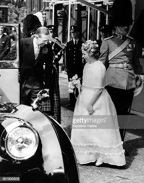 Bridesmaid Princess Anne enters her car after the wedding of Duke of Kent with Katharine Worsley at York Minster on June 8 1961 in York United Kingdom
