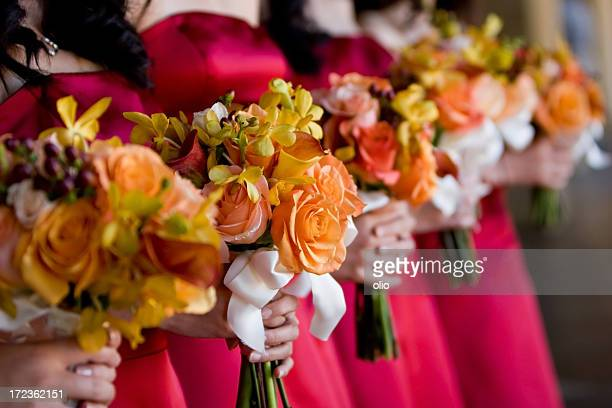 Bridesmaids and Bouquets at a wedding