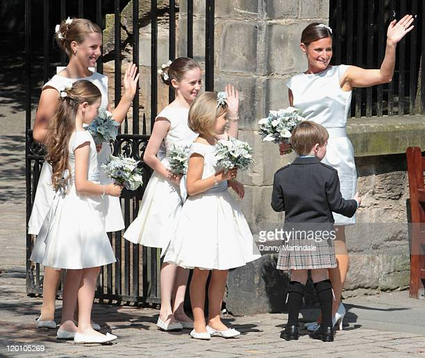 Bridesmaids and flower girls attend the wedding of Zara Phillips and Mike Tindall Canongate Kirk in Edinburgh on July 30 2011 in Edinburgh Scotland