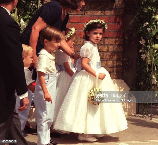 Bridesmaids and page boys arrive at the Greek Orthodox Cathedral of St Sophia in Bayswater west London for the wedding of Princess Alexia of Greece...