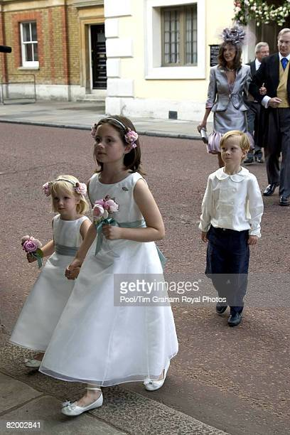 Bridesmaids and pageboy attend the wedding of Lady Rose Windsor and George Gilman at the Queen's Chapel near St James's Palace on July 19 2008 in...