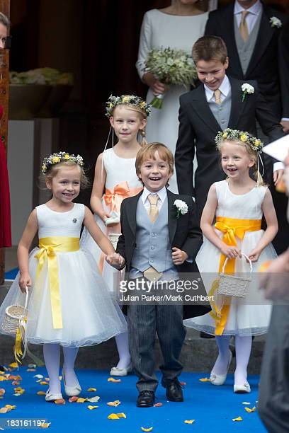 Bridesmaids and Pageboys attend the wedding of HRH Prince Jaime de Bourbon Parme and Viktoria Cservenyak at The Church Of Our Lady At Ascension on...