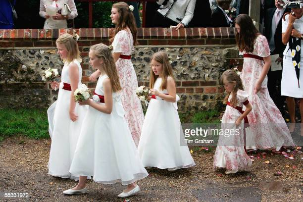 Bridesmaids are seen at the wedding of Tom ParkerBowles to Sara Buys on September 10 2005 in Oxfordshire England Their marriage ceremony was held at...