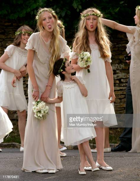 Bridesmaids at the wedding of Kate Moss and Jamie Hince at St Peter's Church on July 1 2011 in Abingdon England
