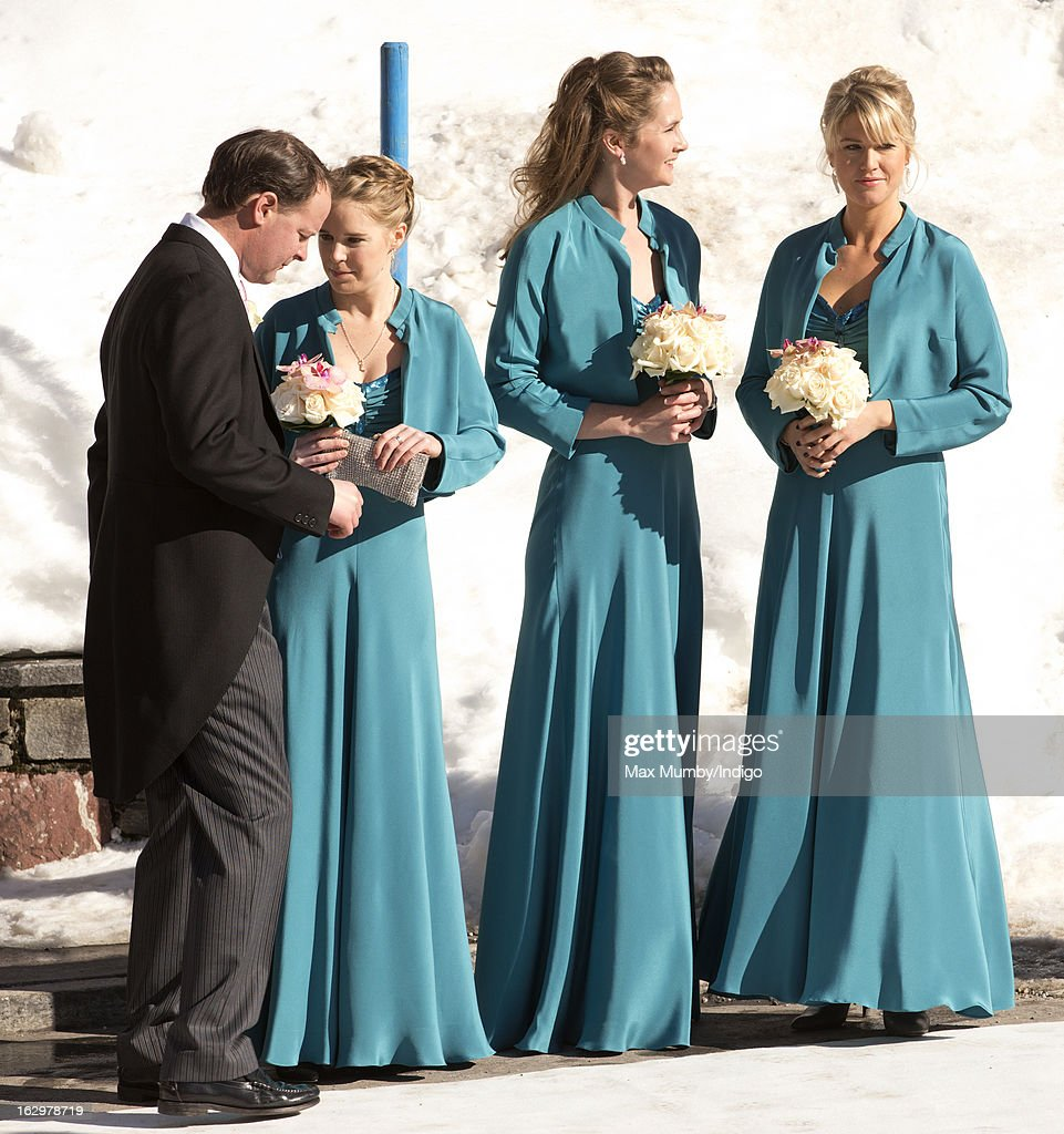 Bridesmaids attends the wedding of Laura Bechtolsheimer and Mark Tomlinson at the Protestant Church on March 2, 2013 in Arosa, Switzerland.