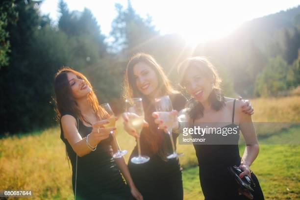 Bridesmaids celebrating in Schwarzwald, German countryside