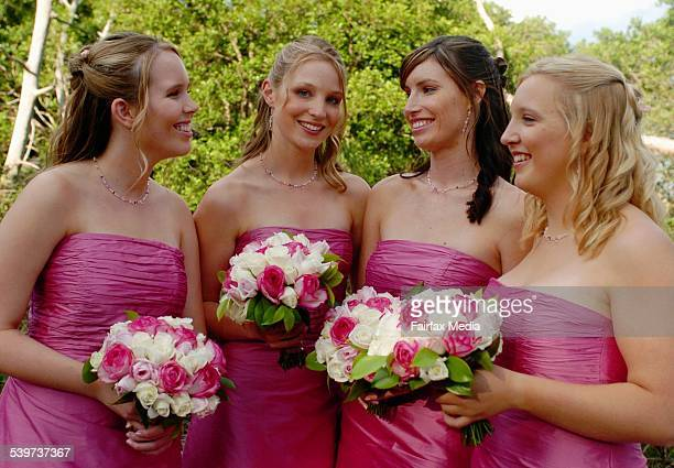 Bridesmaids Steph Byrne Lisa Edwards Beck Dunn and Belinda Alexander at the wedding of Nicole Byrne and John Cubbin 19 November 2005 SHD NEWS Picture...