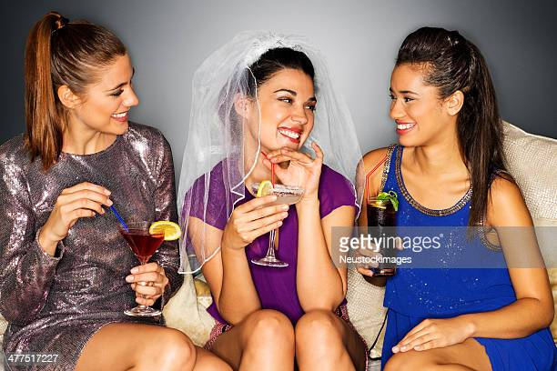 Bride-to Be With Her Girlfriends Enjoying Bachelorette Party