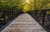 Wooden bridge crosses the Little Pigeon River in the Great Smoky Mountains with autumn foliage in the background. Great Smoky Mountains National Park. Gatlinburg, Tennessee.