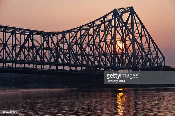 Bridge across a river, Howrah Bridge, Hooghly River, Kolkata, West Bengal, India