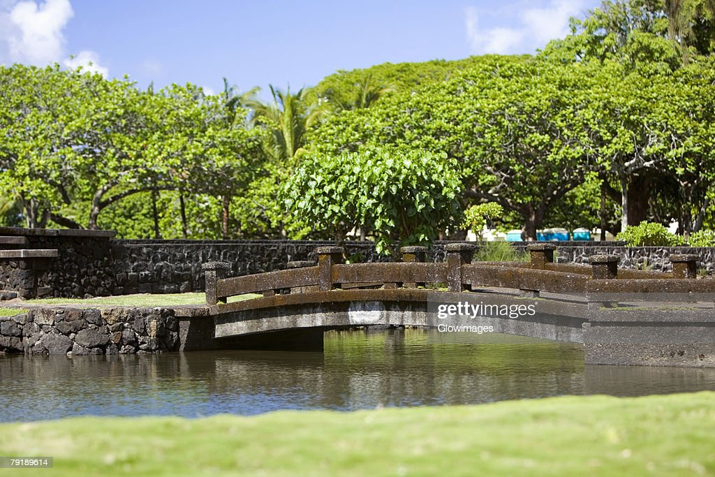 Bridge across a river, Liliuokalani Park and Gardens, Hilo, Big Island, Hawaii Islands, USA : Stock Photo
