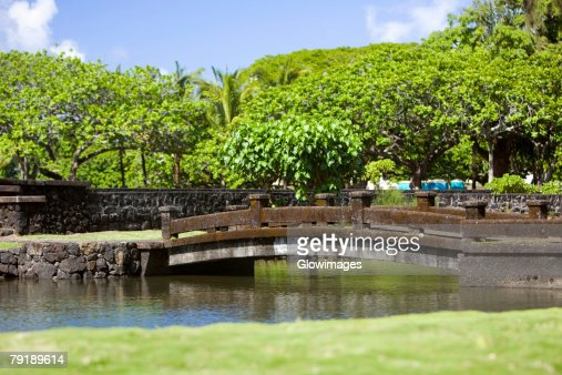 Bridge across a river, Liliuokalani Park and Gardens, Hilo, Big Island, Hawaii Islands, USA : Foto de stock