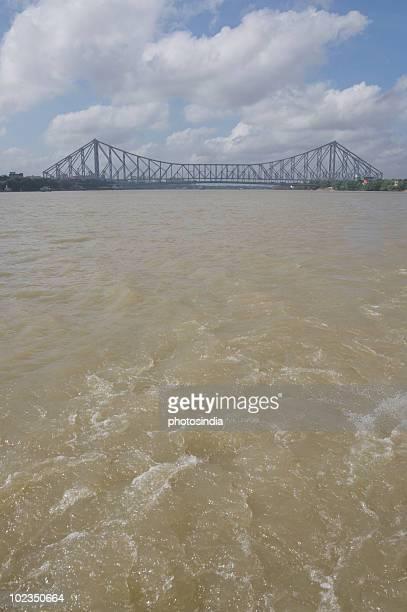 Bridge across the river, Howrah Bridge, Hooghly River, Kolkata, West Bengal, India