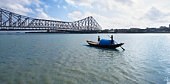 Bridge across the river, Howrah Bridge, Hooghly River, Kolkata, West Bengal, India