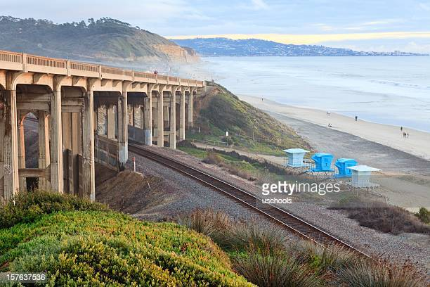 Bridge and Railway on beach, Del Mar, California