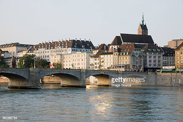 Bridge and river in basel switzerland