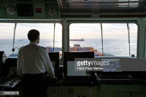 bridge at a containership with captain