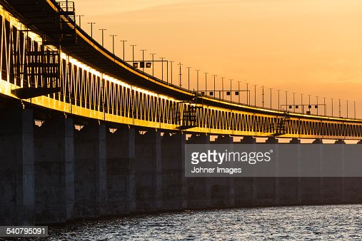 Bridge at sunset, low angle view