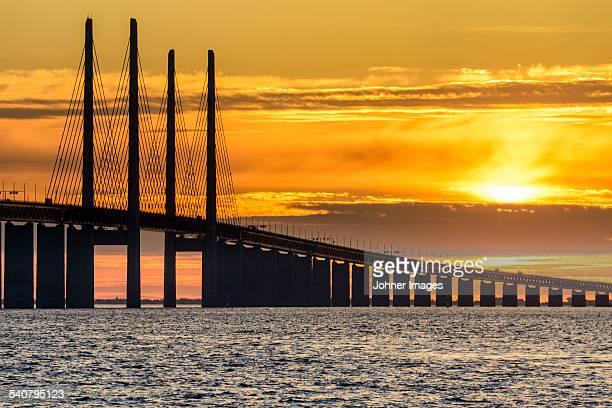 Bridge at sunset, low angle view