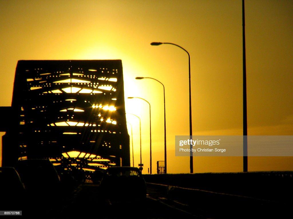 Bridge backlit by Sun Set : Stock Photo
