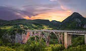 Panoramic view of the bridge Dzhurdzhevicha at sunset. Montenegro
