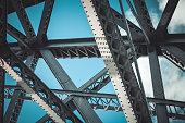 Bridge frame closeup on blue sky background. Horizontal toned image
