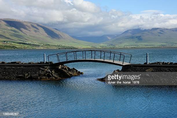 Bridge in Akureyri, Iceland.
