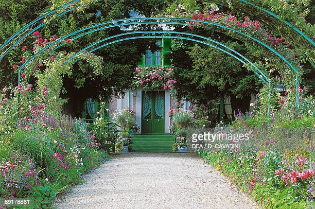 Bridge in front of a house Claude Monet's house and Garden Giverny HauteNormandie France