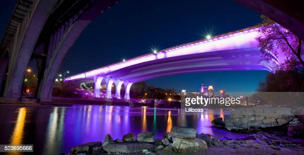 35W Bridge Minneapolis Illuminated in Purple Lights Tribute to Prince