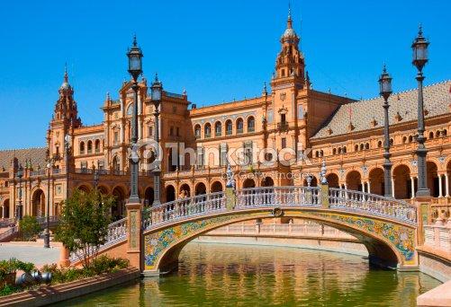 Bridge Of Plaza De Espana Seville Spain Stock Photo ...