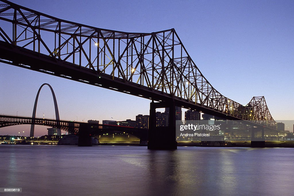 Bridge on Mississippi river in St Louis : Stock Photo